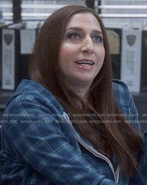 Gina's blue plaid hoodie on Brooklyn Nine-Nine