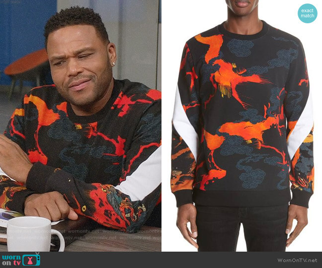 Givenchy Fire Print Crewneck Sweatshirt worn by Anthony Anderson on Blackish