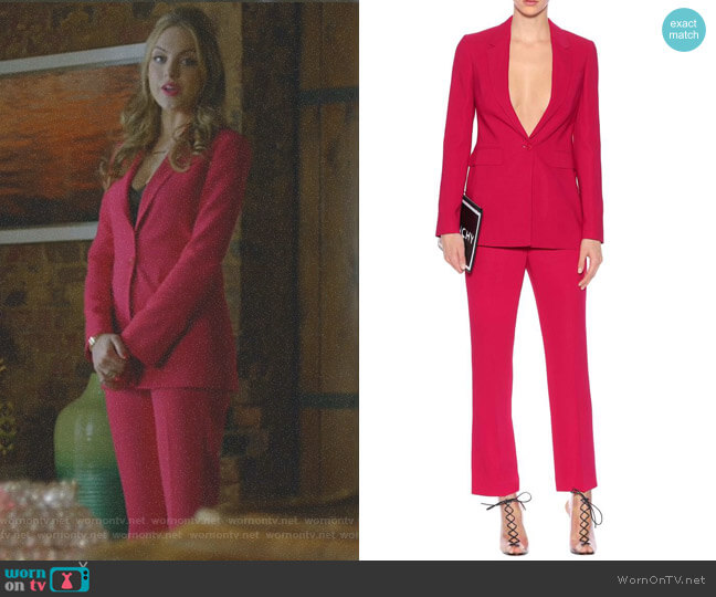 Crepe Blazer and Trousers by Givenchy worn by Fallon Carrington (Elizabeth Gillies) on Dynasty