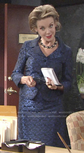 Gloria's blue skirt suit on The Young and the Restless