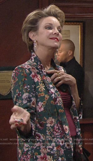 Gloria's green floral blazer on The Young and the Restless