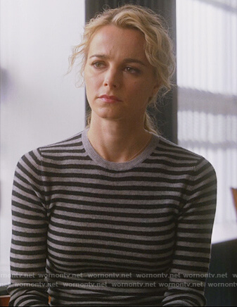 Lizzie's gray and black striped sweater on Instinct