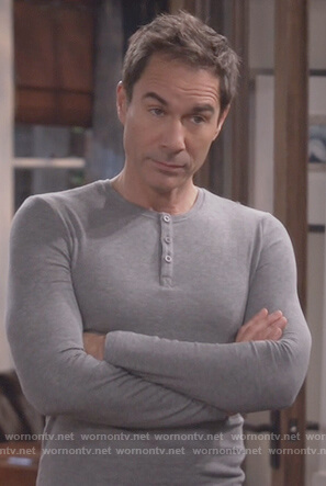 Will's gray long sleeve henley shirt on Will and Grace