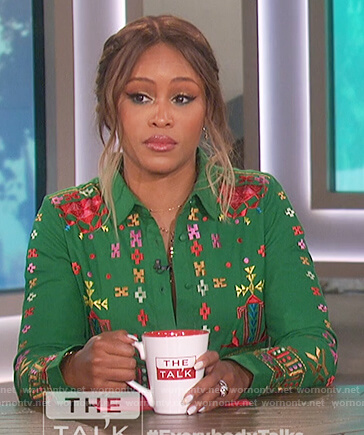 Eve's green embroidered shirtdress on The Talk