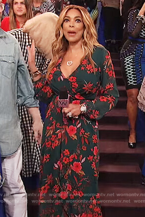 Wendy's green floral print wrap dress on The Wendy Williams Show