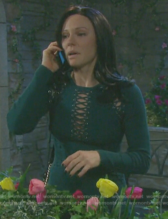 Abigail's green lace-up knit dress on Days of our Lives