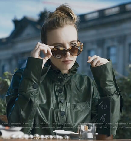 Villanelle's green leather ruffle neck top on Killing Eve
