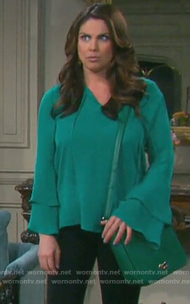 Chloe's green tiered bell sleeve blouse on Days of our Lives
