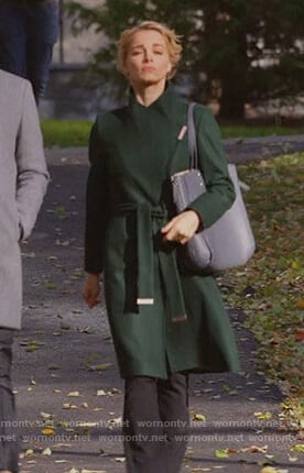 Lizzie's green wrap coat on Instinct