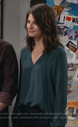 Leslie's green tie neck blouse on Living Biblically