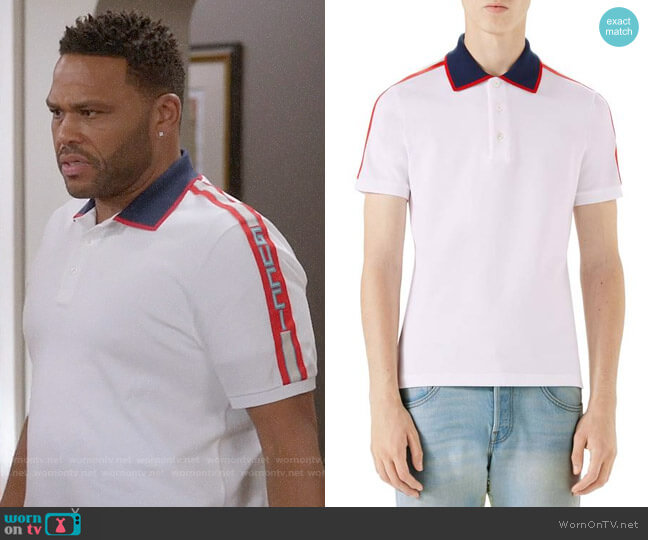 Gucci Jacquard Stripe Sleeve Piqué Polo worn by Andre Johnson (Anthony Anderson) on Blackish