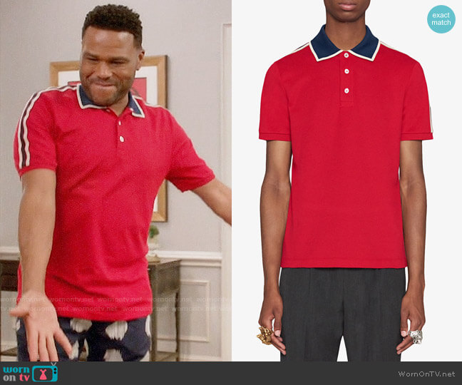 Gucci Contrast-Trim Polo Shirt in Red worn by Andre Johnson (Anthony Anderson) on Blackish
