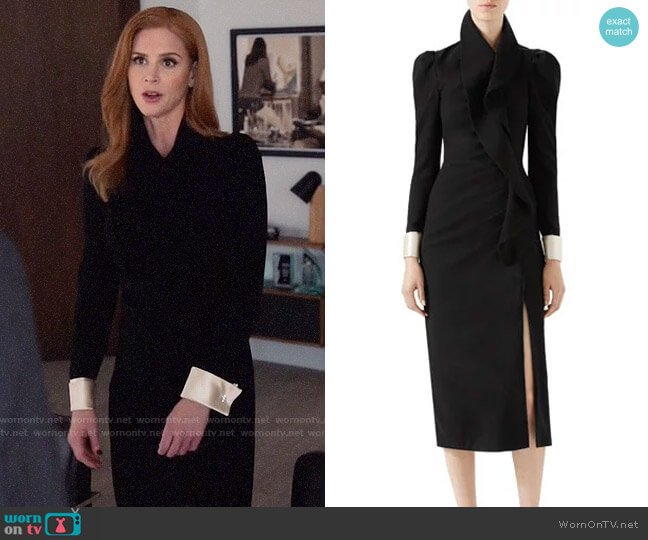 Gucci Wool Dress with Asymmetric Flounce worn by Sarah Rafferty on Suits