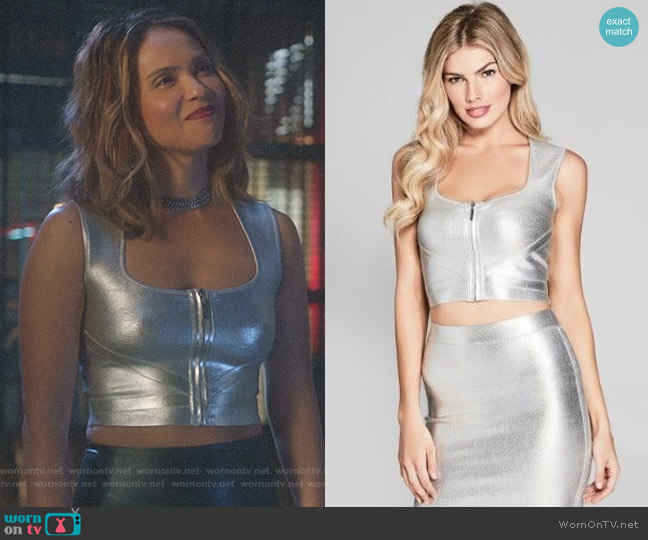 'Suzette' Metallic Bandage Top by Guess worn by Lesley-Ann Brandt on Lucifer