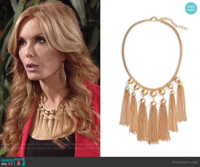 Halogen Sphere Tassel Bib Necklace worn by Lauren Fenmore (Tracey Bregman) on The Young & the Restless