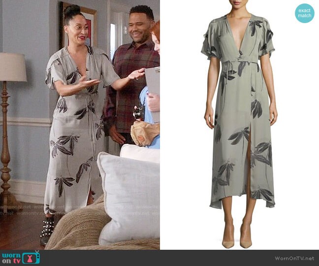 Halston Heritage Flutter-Sleeve Printed Silk Faux-Wrap Dress worn by Rainbow Johnson (Tracee Ellis Ross) on Blackish
