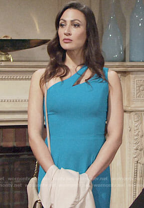 Helen's blue one-shoulder dress on The Young and the Restless