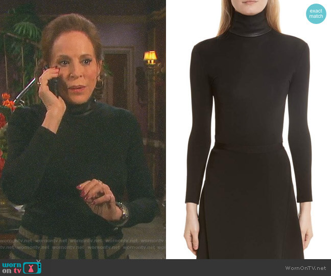 Bondage Jersey Leather Neck Top by Helmut Lang worn by Louise Sorel on Days of our Lives