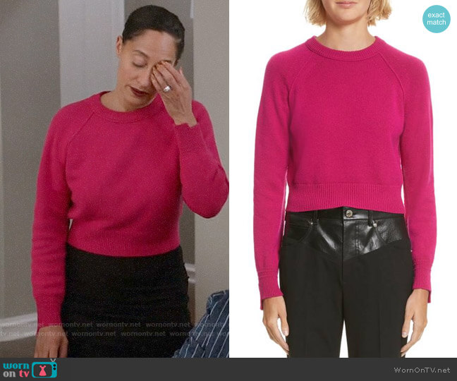 Helmut Lang Cashmere Cropped Sweater worn by Rainbow Johnson (Tracee Ellis Ross) on Blackish