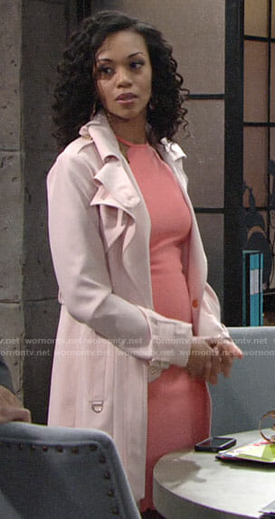 Hilary's scalloped coral dress and pink coat on The Young and the Restless