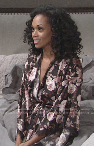 Hilary's rose print robe on The Young and the Restless