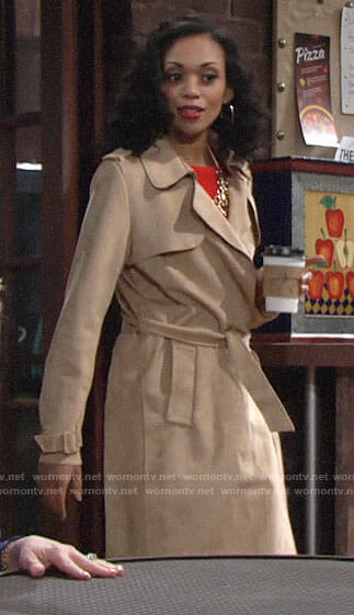 Hilary's suede trench coat on The Young and the Restless