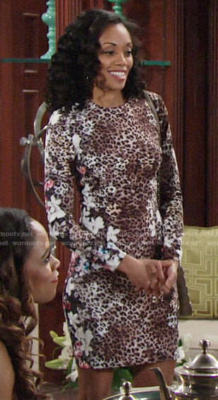 Hilary's floral and leopard print dress on The Young and the Restless