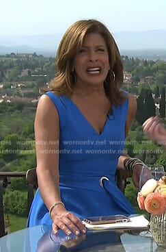 Hoda's blue v-neck belted dress on Today