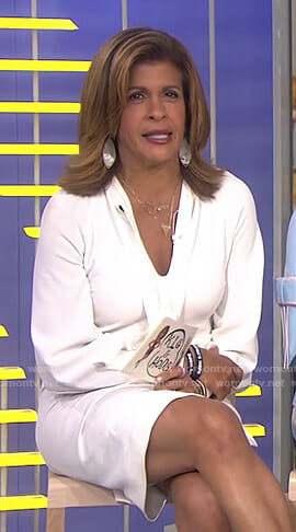 Hoda's white tie neck mini dress on Today