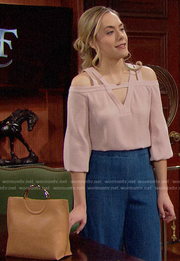 Hope's pink cutout blouse on The Bold and the Beautiful