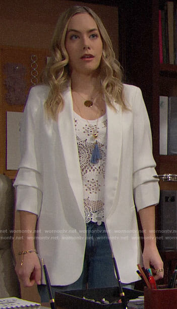 Hope's white crochet top and white blazer on The Bold and the Beautiful