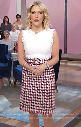 Megyn's houndstooth sleeveless tweed dress on Megyn Kelly Today