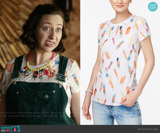 INC International Concepts Popsicle Print T-Shirt worn by Carol Pilbasian (Kristen Schaal) on Last Man On Earth