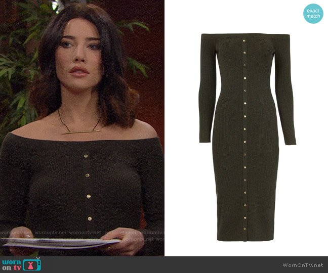 Intermix Renee Off Shoulder Knit Dress worn by Jacqueline MacInnes Wood on The Bold & the Beautiful