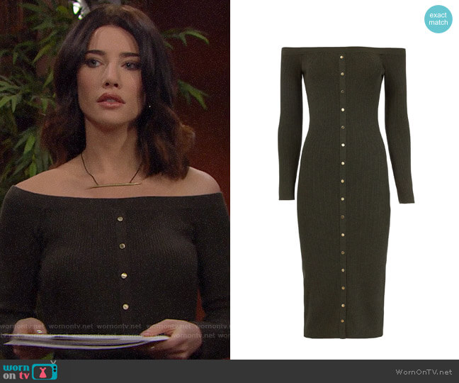 Intermix Renee Off Shoulder Knit Dress worn by Steffy Forrester (Jacqueline MacInnes Wood) on The Bold & the Beautiful