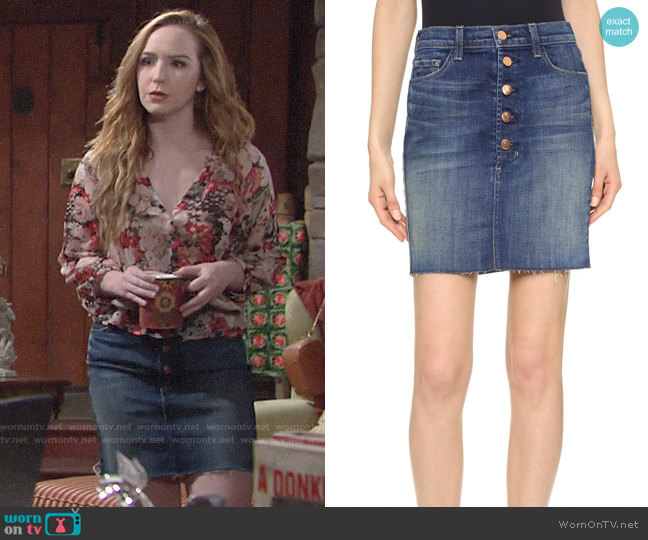 J Brand Rosalie Skirt worn by Camryn Grimes on The Young & the Restless