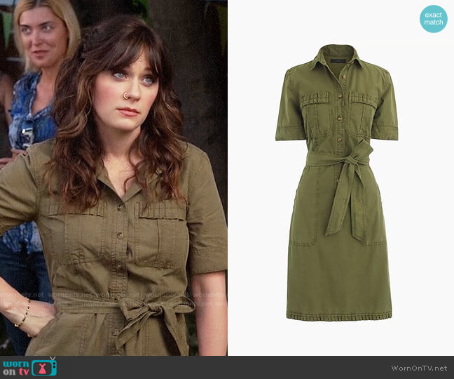 J. Crew Ruffle Hem Utility Dress worn by Jessica Day (Zooey Deschanel) on New Girl