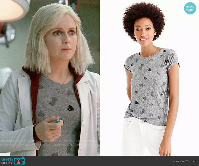 J. Crew Sequin Heart T-shirt worn by Rose McIver on iZombie