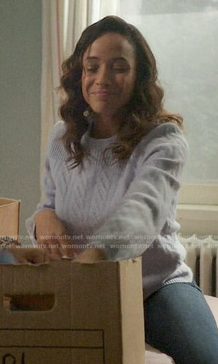 Jacinda's blue cable knit sweater on Once Upon a Time