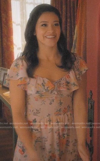 Jane's pink floral ruffled dress on Jane the Virgin