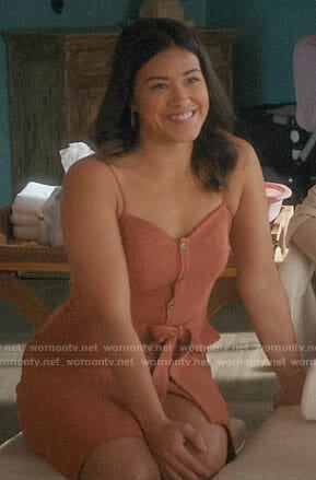 Jane's orange button front dress on Jane the Virgin