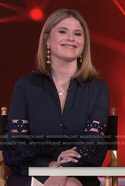 Jenna's navy floral lace inset sleeve shirtdress on Today