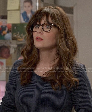 Jess's blue striped dress on New Girl