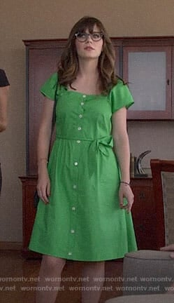 Jess's green button front dress on New Girl