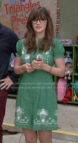 Jess's green embroidered dress on New Girl