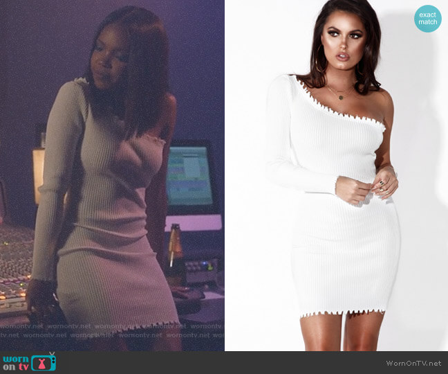 Sassy One Shoulder Distressed Dress by Jlux Label worn by Alexandra Crane (Ryan Destiny) on Star