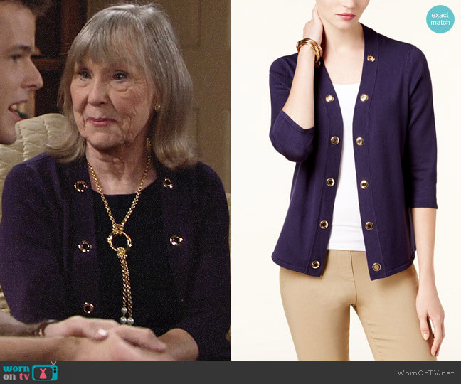 JM Collection Grommet-Trim Open Cardigan worn by Marla Adams on The Young & the Restless