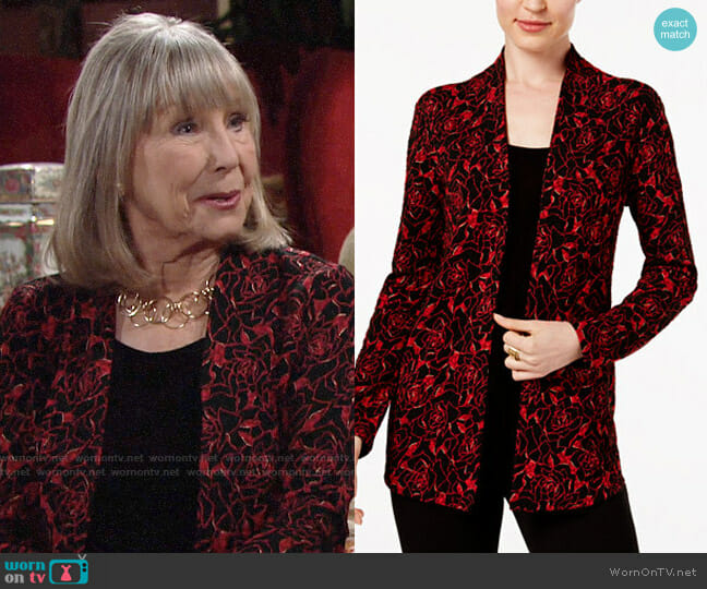JM Collection Layered-Look Printed Top worn by Marla Adams on The Young & the Restless