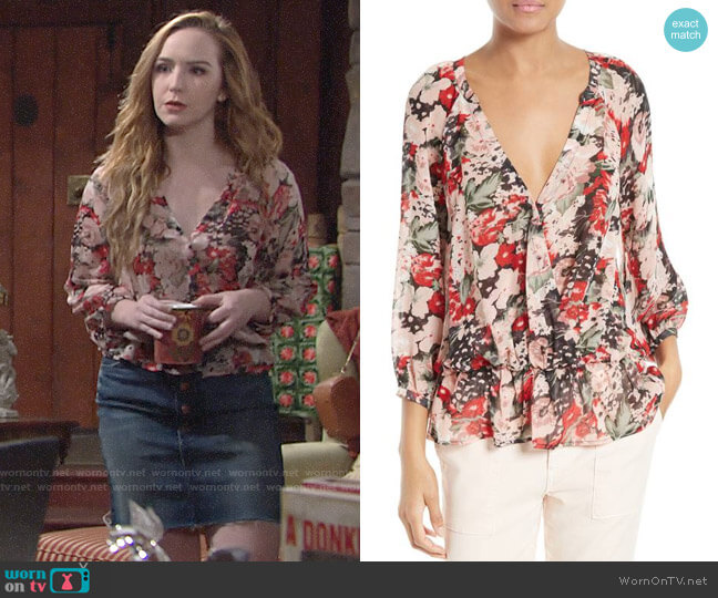 Joie Lourve Blouse worn by Camryn Grimes on The Young & the Restless