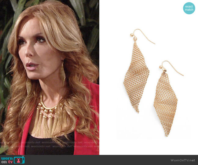 Jules Smith Mesh Wave Kite Earrings worn by Lauren Fenmore (Tracey Bregman) on The Young & the Restless